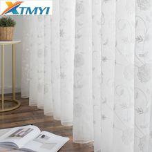 Modern Embroidered Tulle Curtains for Living Room Kitchen Window Screening Voile Sheer Curtains Bedroom Kids Curtains