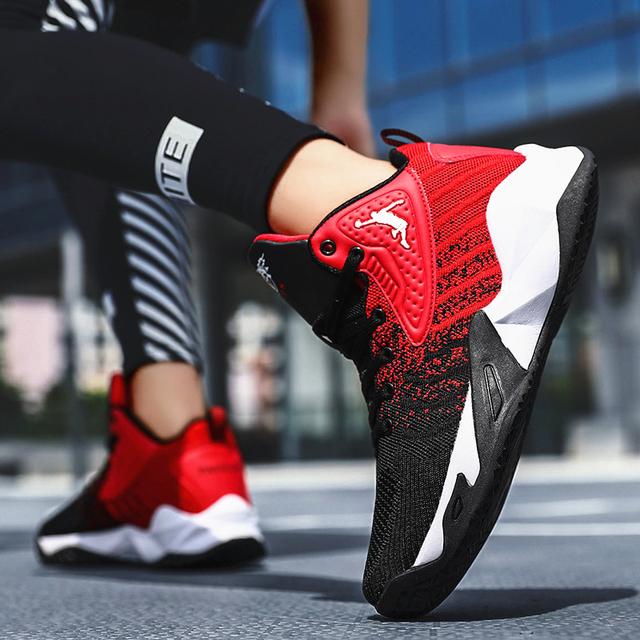 Zapatos aire cojín baloncesto antideslizante alto-top transpirables