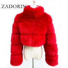Zadorin 2020 Vrouwen Fashion Cropped Faux Bontjas Warm Stand Bontkraag Slim Fluffy Fur Jacket Vrouwen Winter Bontjassen plus Size