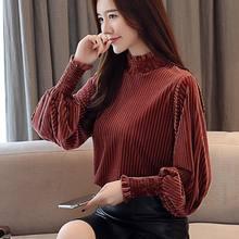 2020 Spring Autumn Women Long Sleeve Shirt & Blouses Female Gold Velvet High Collar Lantern Sleeve Solid Stripes Tops Plus 4XL