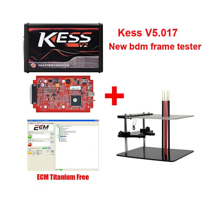 Le plus récent KESS V2.47 V5.017 + nouveau testeur de cadre BDM version principale kess v2 voiture ECU puce outils de réglage avec ECM titane gratuit V1.61