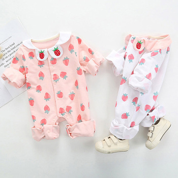 Newborn baby boy girl clothes Cotton Long Sleeve Spring Autumn Baby Rompers Strawberry Print Soft Infant Clothing jumpsuits