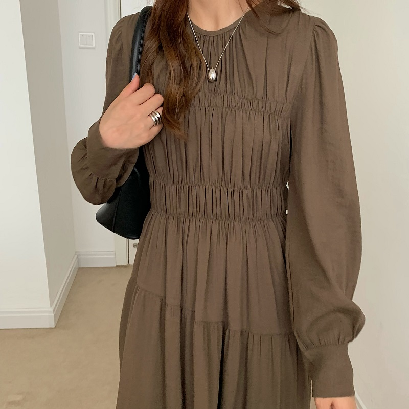 H86db356a66b046ee984f94ce6244eac8A - Autumn Korean O-Neck Long Sleeves Minimalist Solid Midi Dress