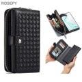 Съемный кошелек на молнии  тканый кожаный чехол  чехол для Samsung galaxy S7 S8 S9 S10 Plus Note 8 9 10 Plus iphone