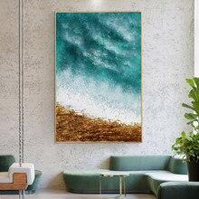Abstrato céu azul 100% pintados à mão pinturas a óleo moderna paisagem na lona arte da parede fotos para sala de estar decoração casa
