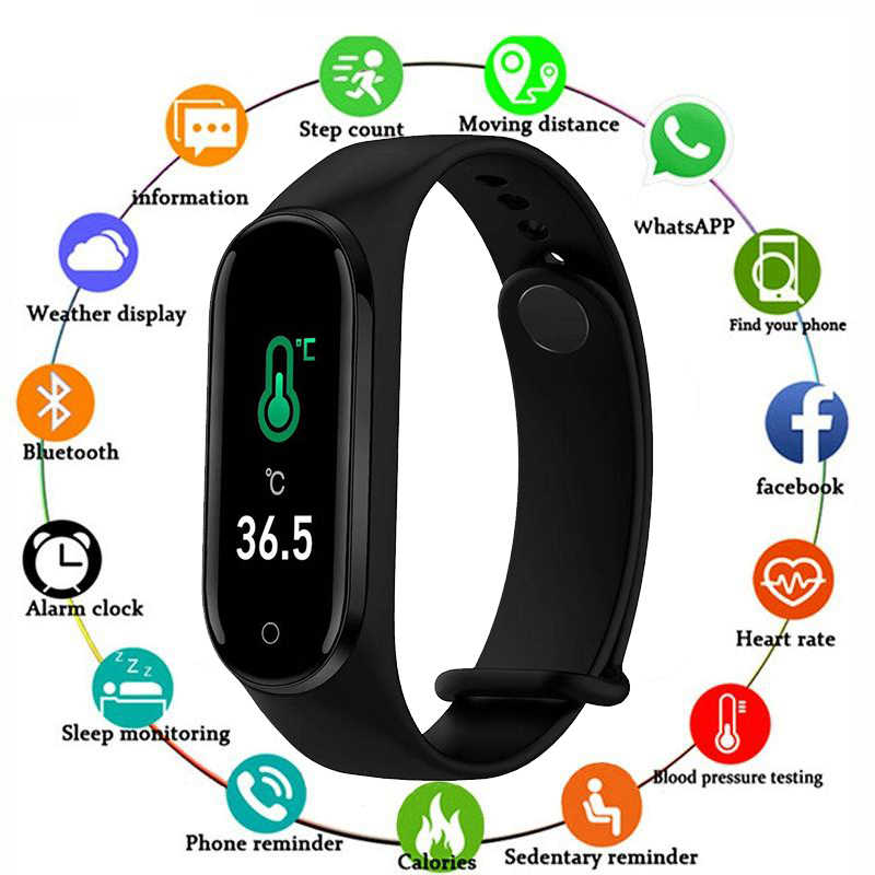 M4 Pro Smart Band Thermometer Nieuwe M4 Band Fitness Tracker Hartslag Bloeddruk Fitness Armband Smart Horloge Voor Android ios