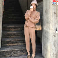 Повседневный трикотажный комплект из 2 предметов: свитер и штаны с высоким воротом и штаны с эластичной резинкой на талии, женские комплекты...