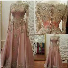Женское вечернее платье с длинным рукавом кружевные аппликации