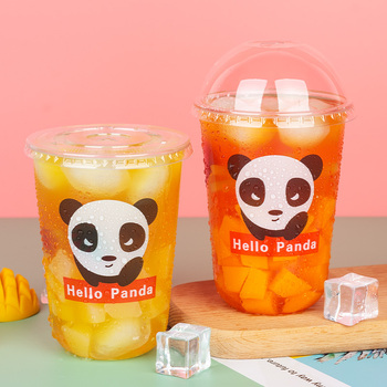 50pcs High quality creative panda pattern disposable coffee cup 500ml transparent cute party milk tea juice water cup with lid