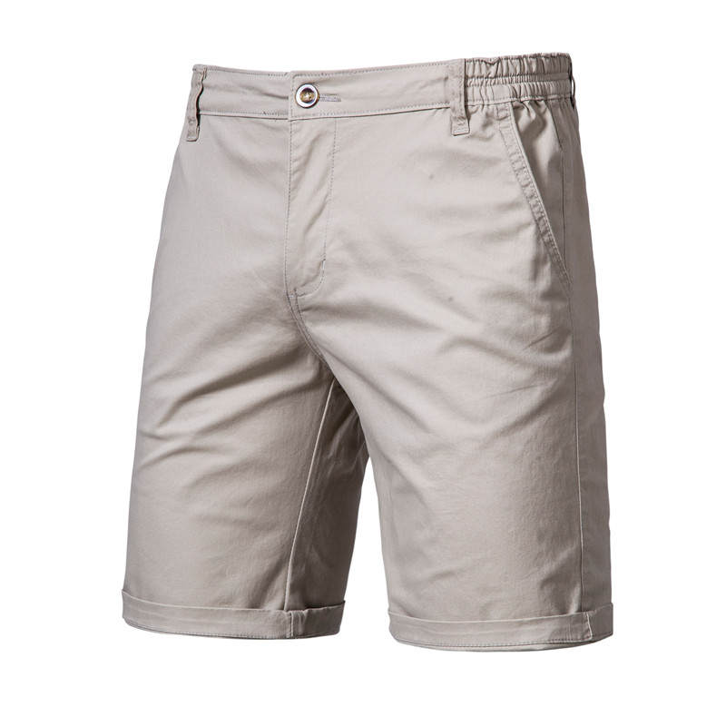 Men Shorts Elastic-Waist Business-Social Summer High-Quality Casual 100%Cotton New Solid