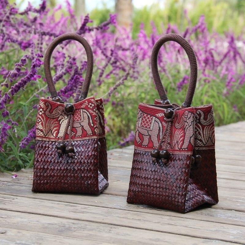 Rattan Handbag Vintage Distressed Straw Bag Woven Mini Tote Bucket Bag Women Clutch Bag