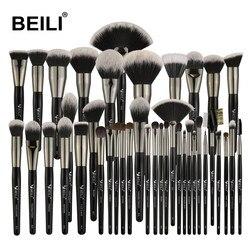 Набор кистей для макияжа BEILI, 40/35/15 шт., роскошные черные Профессиональные кисти для макияжа, Большие кисти для пудры, основы, растушевки кози...
