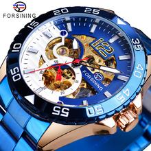 Forsining Mens Wristwatch Mechanical Automatic Waterproof Man Clock Blue Stainless Steel Fashion Luminous Hands Skeleton Watches olevs charm men business watches luminous hands clock watch day and date stainless steel bracelet waterproof wristwatch for man