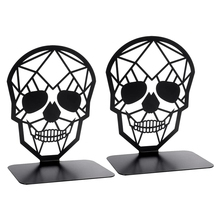 2 Pack Skull Design Black Bookend,Book Ends for Shelves Books,Book Shelf Holder Home Office Decorative Desktop Organizer