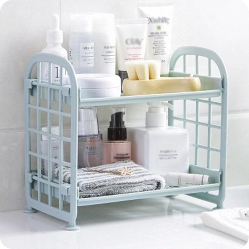 1PCS Plastic Bathroom Storage Shelf 2-story Free-standing Kitchen Corner Shelf Family Organization Hollow Desktop Finishing Rack