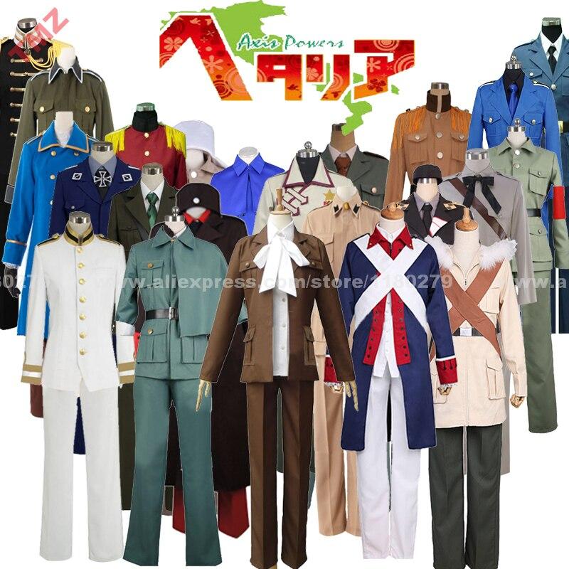 Hetalia Axis Powers APH, Италия, Япония, США, Англия Франция, Бельгия, персонажи, Униформа, косплей костюм, возможно индивидуальное изготовление на заказ