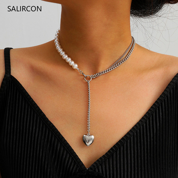 Salircon New Imitation Pearl Chain Heart Choker Necklace For Women Fashion Punk Silver Color Long Necklace Statement CCB Jewelry [daimi] grey color pearl necklace 160cm long sweater chain natural pearl long necklace 8 9mm rice pearl beach style 2017 new