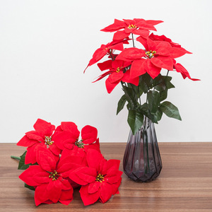 1pc Real Touch Flannel Artificial Big Red Flowers Head Bouquet Christmas Red Poinsettia Bushes Bouquets Christmas Tree Ornaments(China)