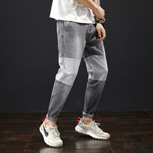 Summer nine-point jeans men's loose tide brand stitching contrast pants Korean version of the trendy fat feet pencil