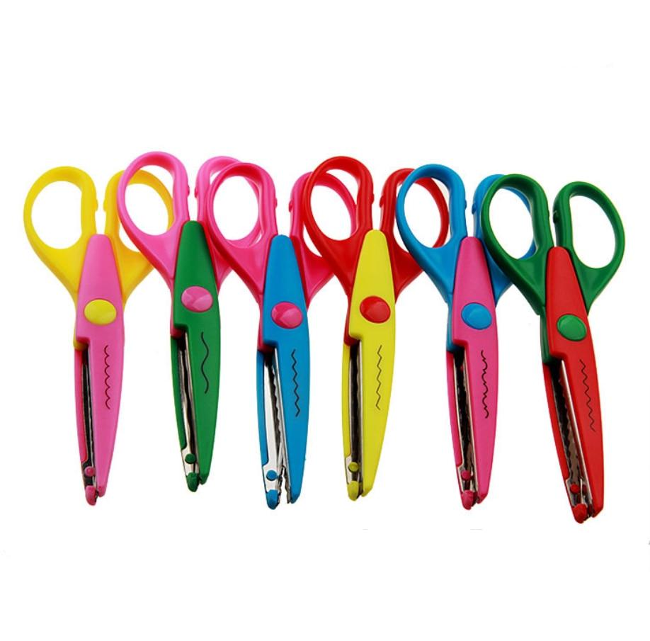 6 Inch Children's Craft Scissors Cutting Paper Scrapbook Wavy ZigZag Pointy Lace Scissors Kid Safety Paper Edging DIY Handcraft