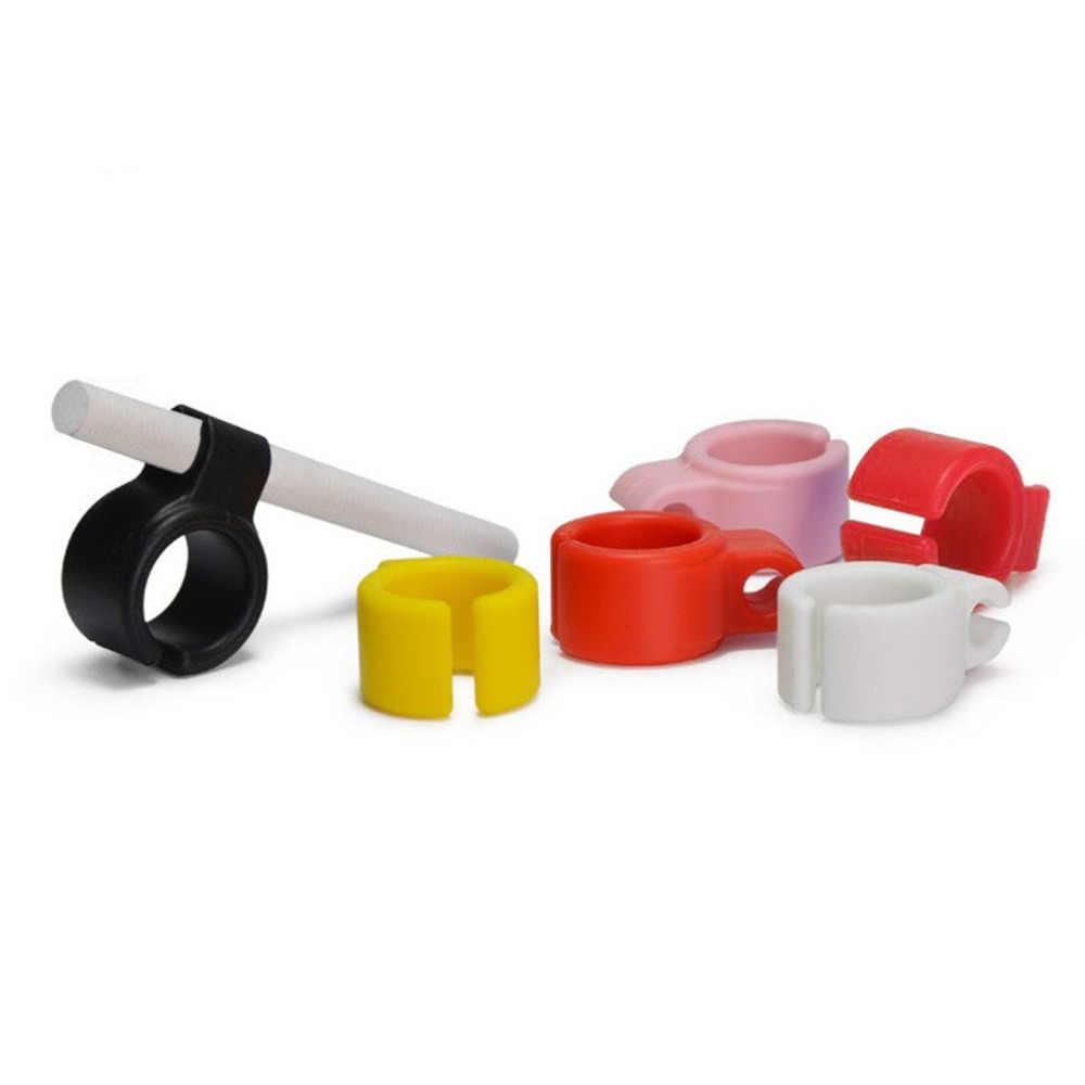5 cores anel de silicone macio dedo mão rack titular do cigarro flexível livre titular para fumar regular acessórios transporte da gota