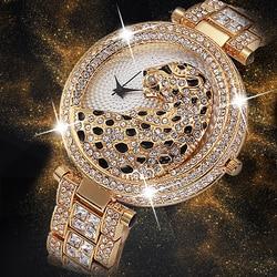Женские кварцевые часы, 370 шт., модные, блестящие, повседневные, женские, кварцевые, золотые, с кристаллами, алмазами, леопардовые