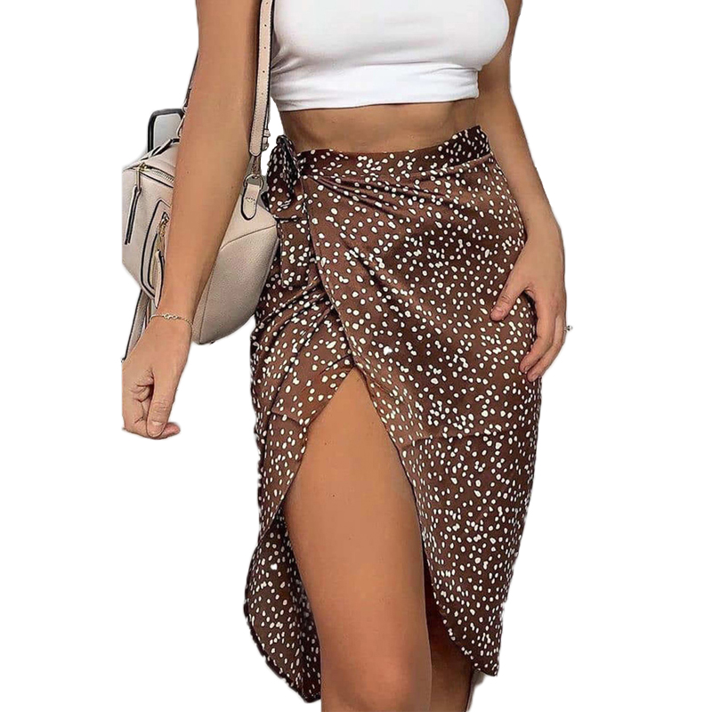 Vintage Dot Print Midi Skirts Women High Waist Lace Up Party Skirt 2020 Summer Sexy Split Wrap Hip Skirt Ladies Asymmetry Skirts