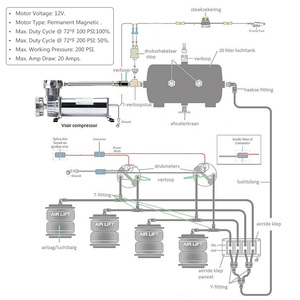 Image 5 - Universal DC 12V 480c MAXPOWER 200 PSI OUTLET 3/8 or 1/4 car Air Suspension Compressor/ Pump PQY VAC01