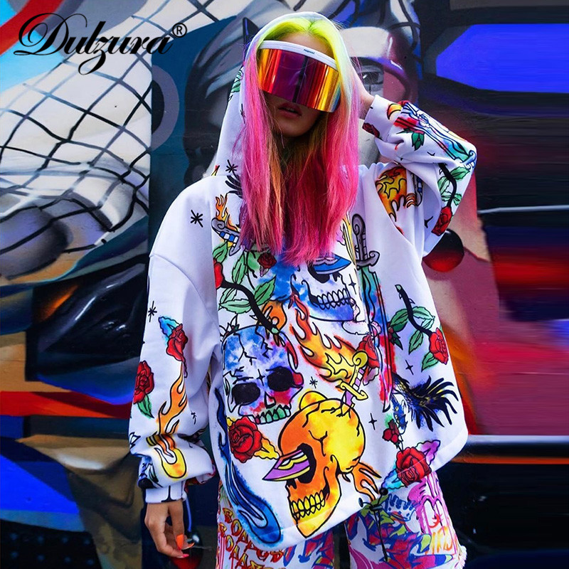 Dulzura 2019 Autumn Winter Women Long Sweatshirt Pullover Oversized Hooded Streetwear Festival Clothing Gothic Flame Print Loose