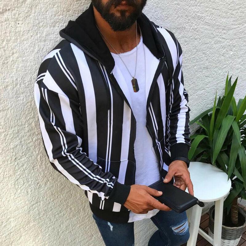 Autumn Winter Warm Men's Slim Fit Stripe Hooded Coat Tops Stripe Jacket Winter Warm Outwear Blazer Top Factory