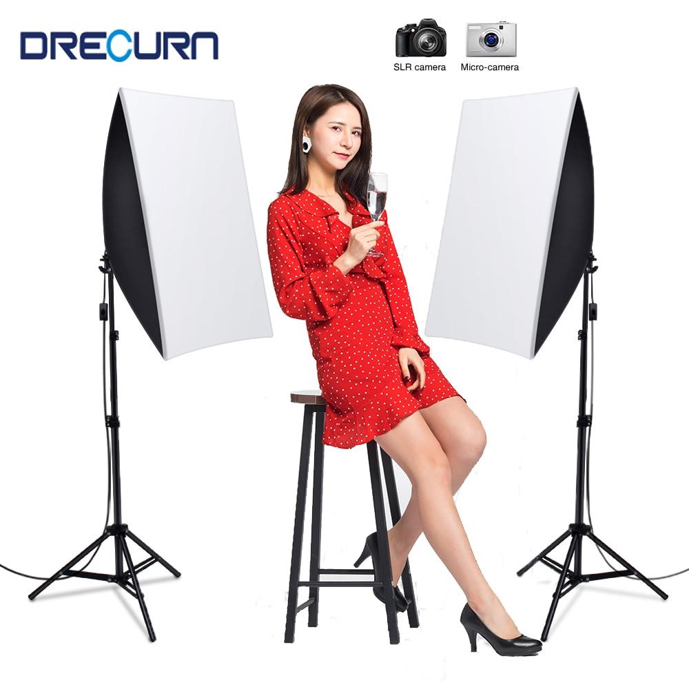 DRECURN фото студия 8 светодиодный 45Вт лампы 2 светильник стенд iPad Air 2 софтбокс фотографическое светильник ing комплект Камера фотоаксессуары дл...