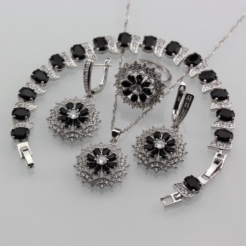 Jewelry-Sets Costume Bracelet/ring 925-Sterling-Silver Cubic-Zirconia Women Cool Black