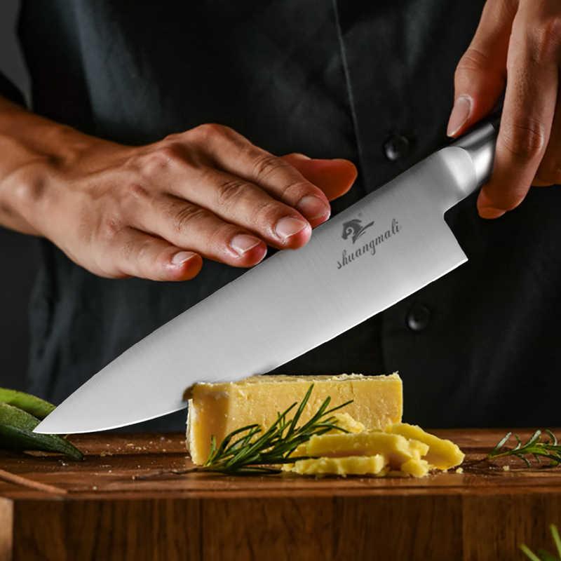 8 pollici Coltello da Cuoco 5CR15MOV Manico In Legno In Acciaio Inox Per Affettare Mannaia Regalo coltello Affilato Cuoco di Damasco Coltelli Da Cucina
