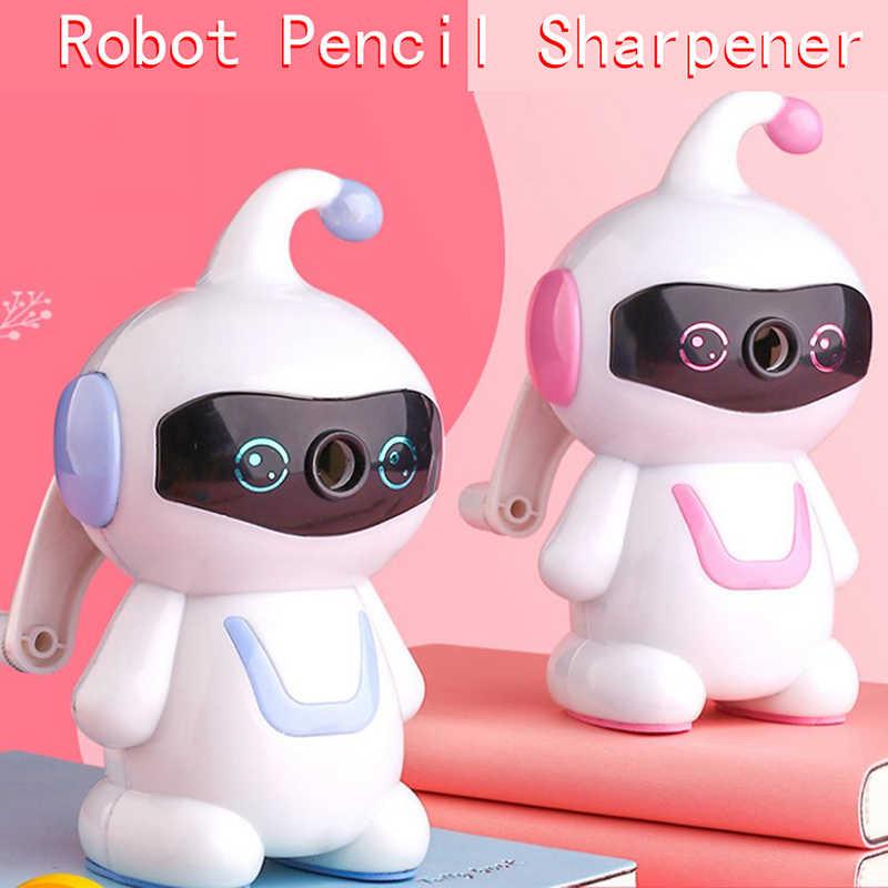 Rhfemd Manual Hand-cranking Pencil Sharpener With Cute Robot Cartoon Design For Children Kids Students Study School Supply