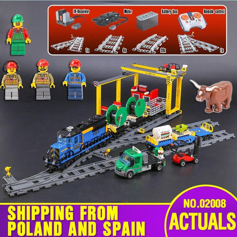 DHL 02008 มอเตอร์ฟังก์ชั่นรถไฟ Series 60052 Cargo Train Building Blocks อิฐมอเตอร์ของเล่นเช่นเด็กคริสต์มาสของขวัญ-ใน บล็อก จาก ของเล่นและงานอดิเรก บน   1