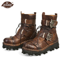 New Retro Cowhide Genuine Leather Motorcycle Boots Skull Punk Martin Botas Moto Boots Steampunk Mid calf Shoes Protective Gear