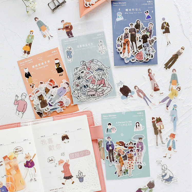40pcs/pack Lovely Character Theme Label Stickers Decorative Stationery Stickers Scrapbooking Diy Diary Album Stick Label