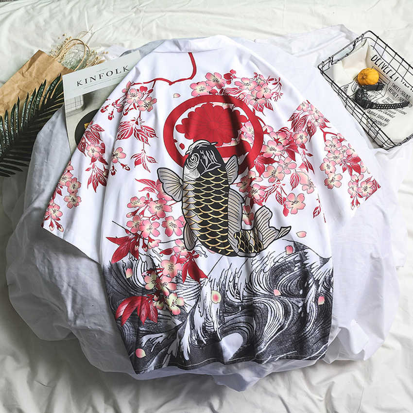 Samurai Crane Gaya Jepang Kimono Haori Pria Wanita Cardigan Naga Cina Pakaian Tradisional Jepang Orang Asia Pakaian