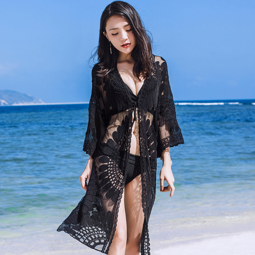 Japanese Korean New Style Special Offer Beach Holiday Cover-up Skirt Sexy Lace Embroidered Coat Outdoor Women's