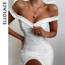 Ellolace Sexy Mini Draped Dress Women Off Shoulder Bodycon Solid White Sleeveless Slim Elegant Female Dresses New Fashion