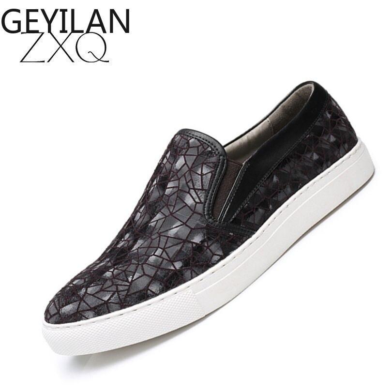 Haute qualité concepteur été automne hommes sans lacet baskets chaussures en daim cuir couture géométrie motif hommes mocassins chaussures