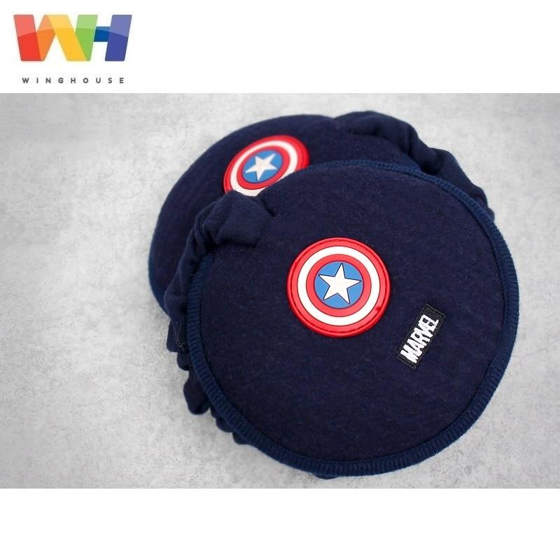 Winghouse Children Earmuffs Marvel Captain Amercia Wool Ear Cover Plush Warm EarBags Boy Windproof Earplugs Winter Headphones