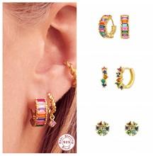 Boucles d'oreilles en argent Sterling 100% S925 pour femmes, Huggies en cristal arc-en-ciel brillant, créoles pour amoureux filles, bijoux coréens