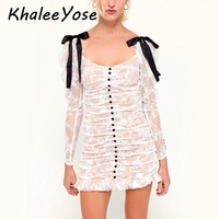 KHALEE YOSE White Pleated Mini Dress Sexy Sheer Mesh Lace Dresses Womens Long Sleeve Bows Button Front Party Dresses Female 2019