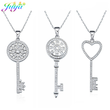 Juya Fashion Statement Necklaces Supplies Micro Pave Zircon Pendant Key Necklace For Women Girl Christmas Gift Jewelry Wholesale