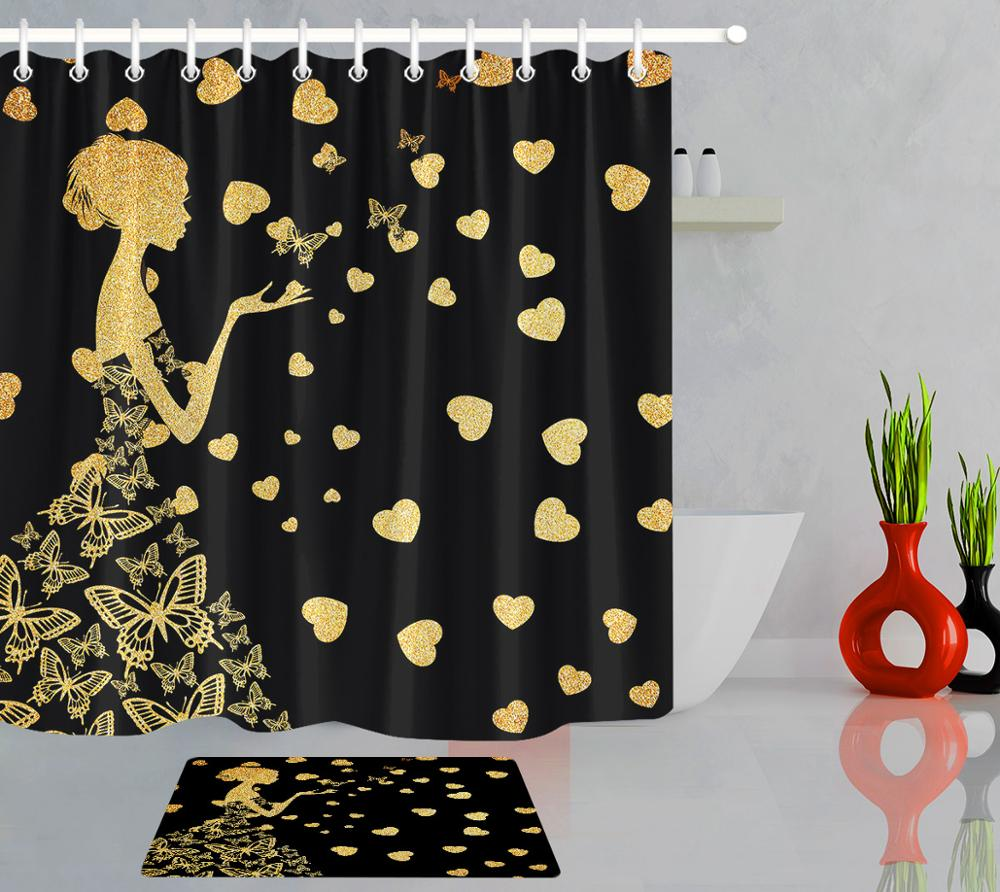 Black /& Gold Leather Pattern Shower Curtain Liner Waterproof Fabric /& 12 Hooks