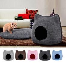 Gatos destacáveis cama animal de estimação gato bonito caverna saco de dormir zíper forma feltro pano casa ninho gatos cesta