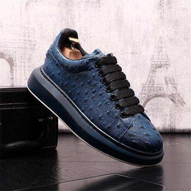 Ostrich-Zapatillas de cuero de lujo para Hombre, zapatos planos informales con plataforma creciente de altura, estilo Hip Hop 3