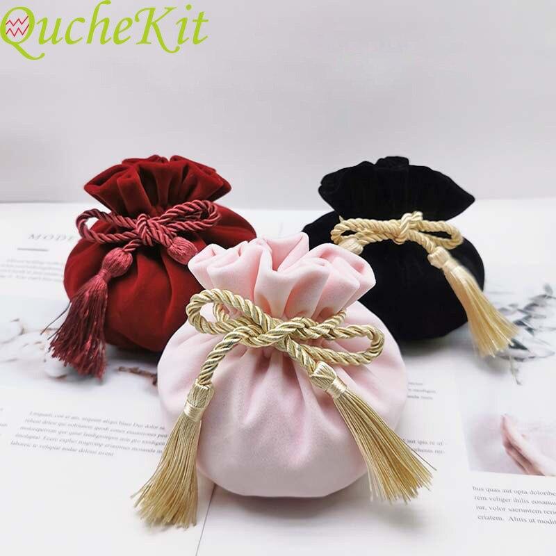 Бархатные подарочные пакеты в стиле ретро с кисточкой, рождественские и свадебные сумочки для конфет, шоколада, конфет, вечеринок, товар для...