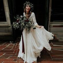 Женское платье в стиле бохо свадебное трапециевидной формы с